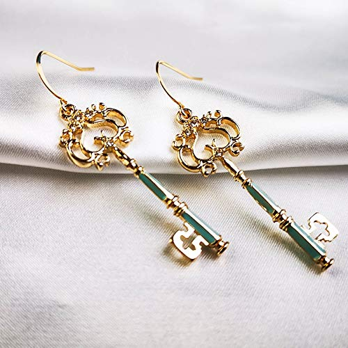 ZNXHNDSH HND Cute Fashion Gold Color Enamel Hollow Key Drop Earring For Women Handmade Date Gift Jewelry (Color : Ed02138d)