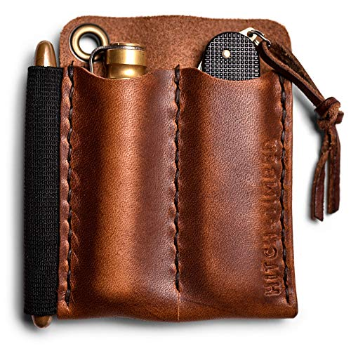 The Pocket Runt 2.0 by Hitch and Timber ~ Leather EDC Slip for Everyday Carry, Knife Sheath, EDC organizer, EDC Slip, Made in USA