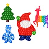 Mirenlife 4 Packs Christmas Pop Fidget Sensory Bubble Toys, Silicone Pressure Relieving Toys, Silicone Squeeze Sensory Toy