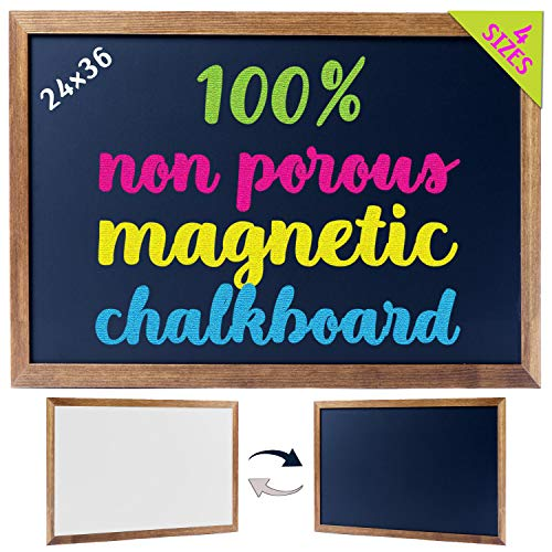 Cedar Markers 36'x24' Big Chalkboard with Wooden Frame. 100% Non-Porous Erasable Blackboard and Whiteboard for Liquid Chalk Markers. Magnet Board Chalk Board Decorative Chalkboard for Parties (36x24)