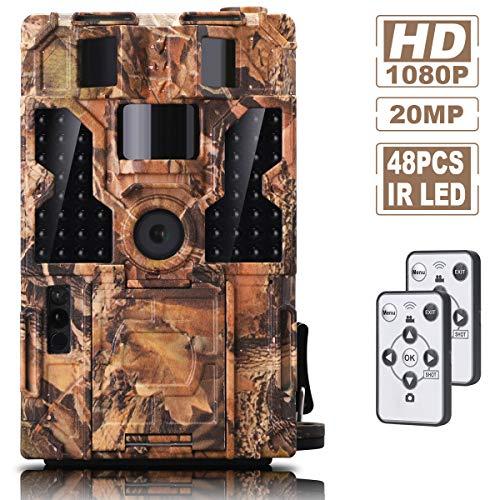 AMTOK Wildkamera Fotofalle mit Bewegungsmelder Nachtsicht 20MP 1080P Full HD Wildtierkamera,IP66 Wasserdicht Jagdkamera,Weitwinkel Vision Infrarote 20m Nachtsicht,Zeitraffer, Zeitschaltuhr