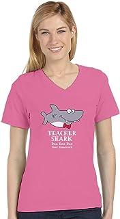 Teacher Shark Doo Doo Funny Gift for Teachers V-Neck Fitted Women T-Shirt