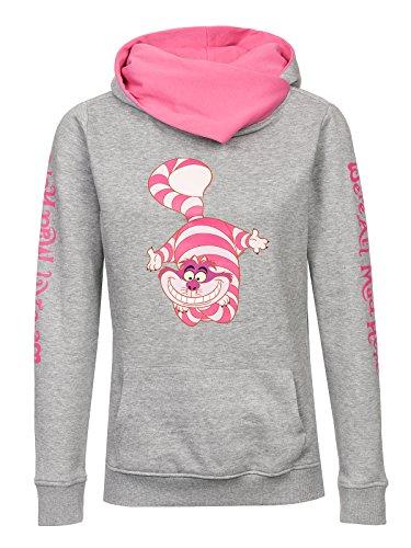 Alice im Wunderland Frauen Kapuzenpullover grau meliert/pink XS (Textilien)
