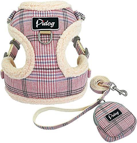 Didog weiches und bequemes Hundegeschirr mit Leine, mit niedlichen Taschen, klassisches Karomuster, Rückseite lässt sich öffnen und verstellen, Hundegeschirr für kleine Hunde, Katzen