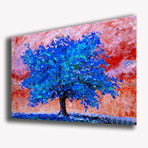 Quadro moderno ALBERO DELLA VITA arte moderna KLIMT Style blu STAMPA SU TELA canvas Quadri Moderni Cucina Salotto Soggiorno Camera da letto printerland.it (50x70 cm)