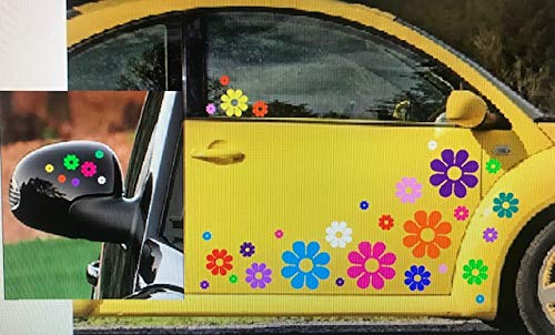 40 Car Flowers Daisy Bright Rainbow Set Sticker Decals Clear Centers USA VW Boat Golf Cart Kayak USA