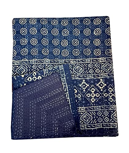 DN Handicraft Hecho a mano nuevo indio azul índigo parche trabajo katntha círculo azul Rajai Queen Size Kantha edredón