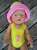 Puppenkleidung handmade Badeanzug + Hut passend für Baby Puppe Gr. 43 cm Badeset ' gelb + rosa ' Puppenbadeanzug