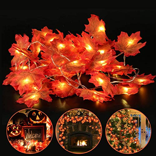 6 Pack Maple Leaves Lights Thanksgiving Decor Fall Garland String Lights - 60 Ft 120 LED and 120 Maple Leaves...