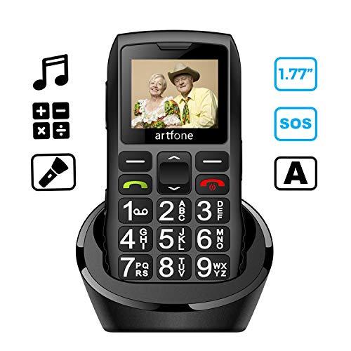 Artfone GSM Telefono Anziani Tasti Grandi con Base SOS Torcia Elettrica Cellulare Telefonino Multifunzione Supporta Doppia Scheda SIM FM Radio Chiamata Rapida Sveglia Suono Alto 1400mAh Batteria