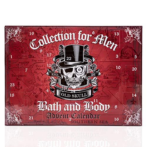 Stylischer Beauty-Adventskalender für Männer im Totenkopf - Design, Weihnachtskalender mit 24 Beauty und Wellness Überraschungen für Herren