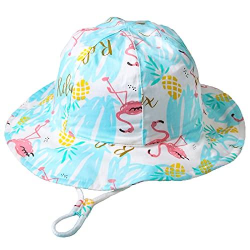 Unisexo Bebé Sombrero de Sol Flamenco Azul Gorro de Pescador Infantil Verano Exteriores Protección Solar Gorro de Playa para 12-24 Meses Niña Niño