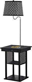 The Furniture Cove Black Side End Table USB Ports Electric Outlet Built-in Lamp Featuring a Football Team Vinyl Decal Logo-Free LED Bulb (Saints Helmet)