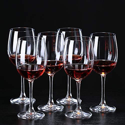 Tanktoyd Copas de Vino de Stemware, Copas de Vino de Estilo Italiano, Conjunto de Copa de Vino Grande para Vino Blanco y Rojo, Copas de Vino de 16.5 oz, Conjunto de 6 Copas de Vino,