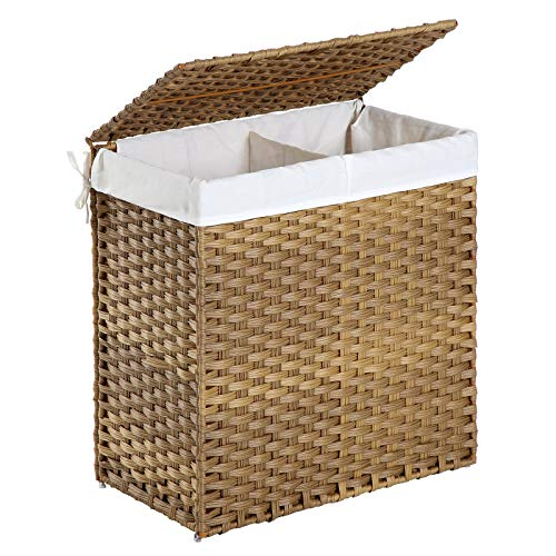 SONGMICS Divided Laundry hamper, 29 Gal (110L) Synthetic Rattan Handwoven Laundry Basket with Lid and Handles, Foldable, Removable Liner Bag, Natural ULCB52NL