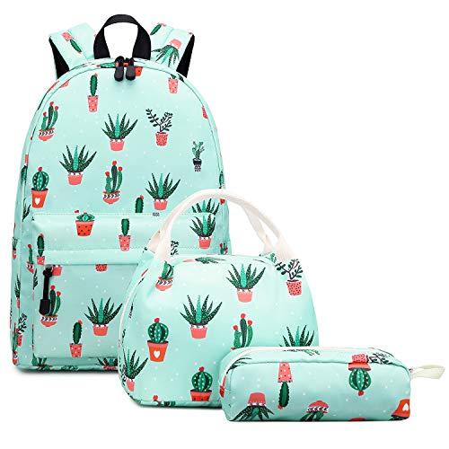 Abshoo Lightweight Water Resistant Cactus Backpacks for Teen Girls School Backpack with Lunch Bag (Cactus Teal Set)