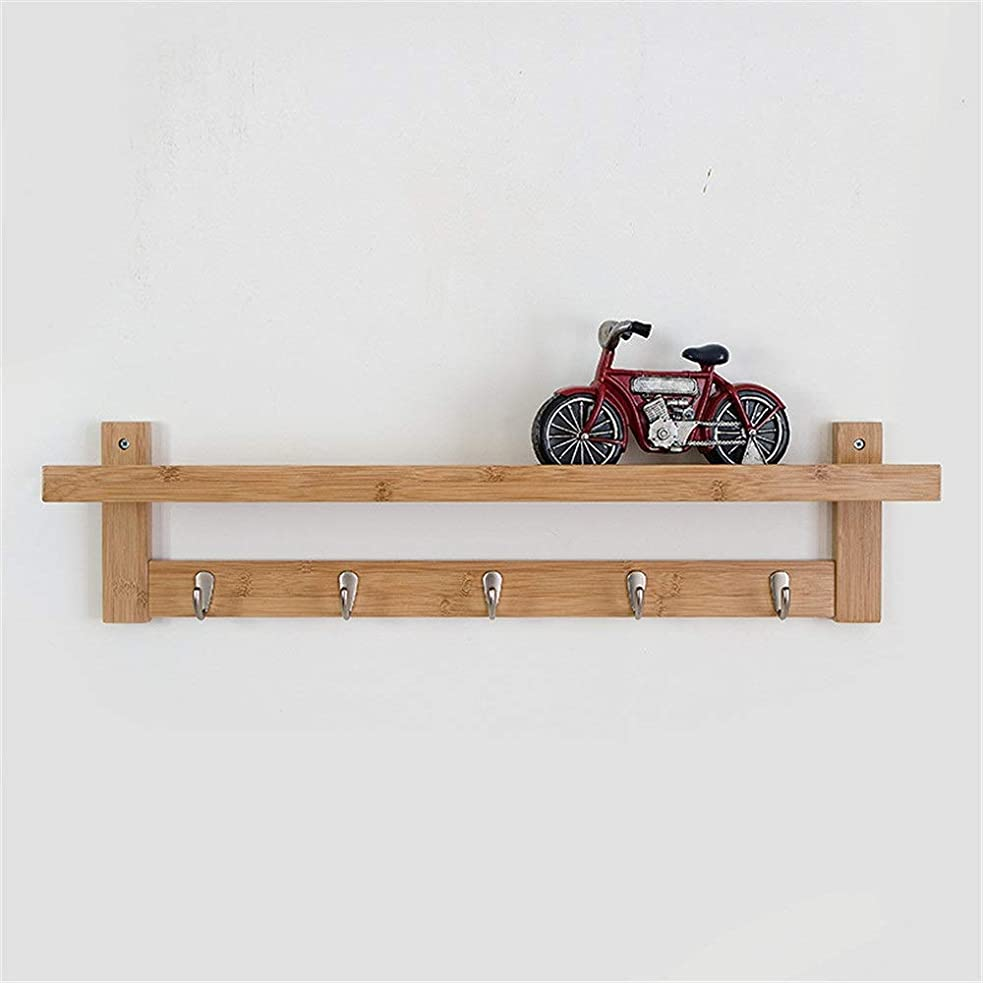 祖先スクランブル痛みフローティング棚壁掛け 手作りの素朴な竹製壁掛け吊り戸口フローティング棚玄関棚5フック付きコートラックとして、帽子オーガナイザー、キーホルダー (色 : B, サイズ : ワンサイズ)