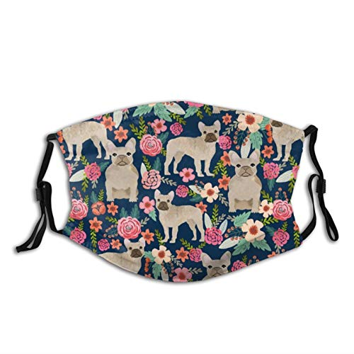 Swesa Face_Masks for Adults,French Bulldog Floral Fawn Frenchie Face Coverings with 2 Filters Washable Reusable Face Balaclava