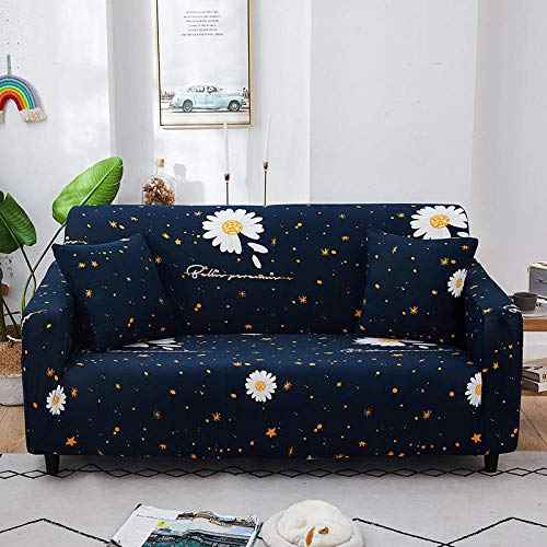 Sofa Cover Stretch Elastic Black yellow pattern Printed Sofa Slipcover 2 Seater Polyester Spandex Furniture Decorative Soft Loveseat Couch Covers Chair Protector for Pets Kids Sofa Covers
