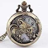 Reloj De Bolsillo con Cadena Retro Antiguo Zodíaco Chino Colgante A Cielo Abierto Collar para Hombre Bronce Redondo Bolsillo Fob Reloj Niño Regalos Perro Pollo