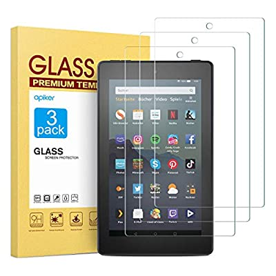 [3 Pack] Screen Protector for Fire 7/Fire 7 Kids Edition(9th/7th Gen), apiker High Definition Tempered Glass Screen Protector Fit for All-New Fire 7/Fire 7 Kids Edition
