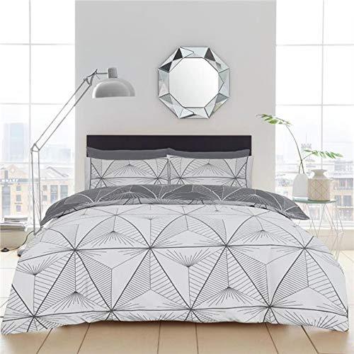 Homemaker  Geometric duvet set charcoal grey linear bedding quilt cover & pillow cases (Double)