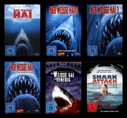 Der weiße Hai 1-4 / Der weiße Hai in Venedig / Shark Attack (6 DVDs)