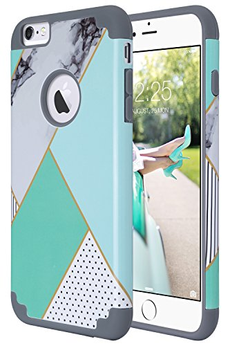 ULAK iPhone 6 Plus Case, iPhone 6S Plus Case, Slim Dual Layer Soft Silicone Hard Back Cover Anti Scratches Protective Case for Apple iPhone 6 Plus / 6S Plus 5.5 inch (Geometric+Mint) -  ULAKUACC017G017