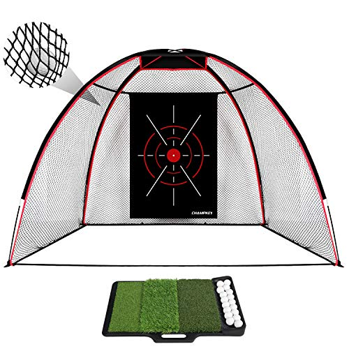 Champkey TEPRO 10' x 7' Golf Hitting Net with Golf Hitting Mat | 5 Ply-Knotless Netting with Impact Target Golf Driving Net | Come with Heavy Duty Rubber Base Mat with Tray