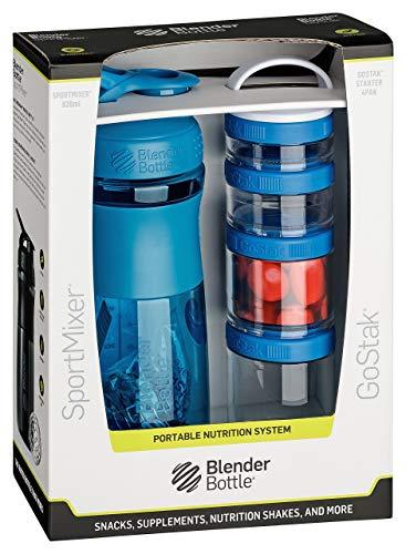 BlenderBottle Combo Pak - Sportmixer Shaker 820 ml Fassungsvermögen und GoStak Starter 4Pak mit Henkel in einer attraktiver Geschenkverpackung, cyan