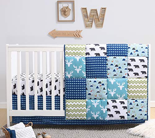The Peanutshell Crib Bedding Set for a Boy, Girl or Gender Neutral Nursery | Forest Animal Theme | 3 Pieces - Baby Quilt, Fitted Crib Sheet, Crib Skirt