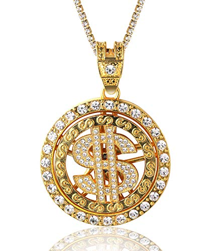 Halukakah Gold Chain for Men Iced Out,18k Real Gold Plated Rotatable US Dollar Pendant Necklace,Full Cz Lab Diamonds Prong Set,with Baby Tennis Chain 50cm,Free Giftbox