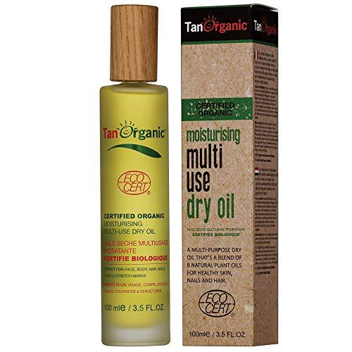 TanOrganic: Huile de Bain Sèche Multi-Usages, Pour le Traitement de la Peau et des Cheveux, le Post Bronzage et le Maquillage, Certifiée Organique - 100ml