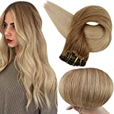 Full Shine Clip in Human Hair Ombre 14 Inch Remy Hair Clip In Extensions Dip Dye Balayage Color 10 Fading To 14 Blonde Extensions Clip in Human Hair Double Weft 10 Pieces 100 Grams