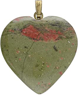 1001Kristall Corazón de 25 mm con ojal dorado de Unakita.
