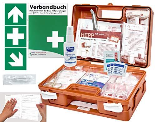 Verbandskoffer/Verbandskasten (K) Typ C -Paket 1- Erste Hilfe nach DIN 13157 für Betriebe -DSGVO- INKL. PERFORIERTEM VERBANDBUCH + Hände-Antisept-Spray & Folienaufkleber