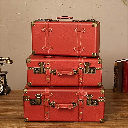 N&W Vintage Suitcases Storage Set of 3 Decor Wooden Trunk Chest Birthday Parties Wedding Decoration Displays Crafts for Home Daily Storage (Color : Red Size : Set of 3)