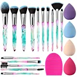Makeup Brush Set Glamour Gaze 15Pcs Crystal Handles Makeup Brushes Sets Eyeshadow Eyebrow Foundation Brush Set With Makeup Sponge Blender Beauty and Brush Egg