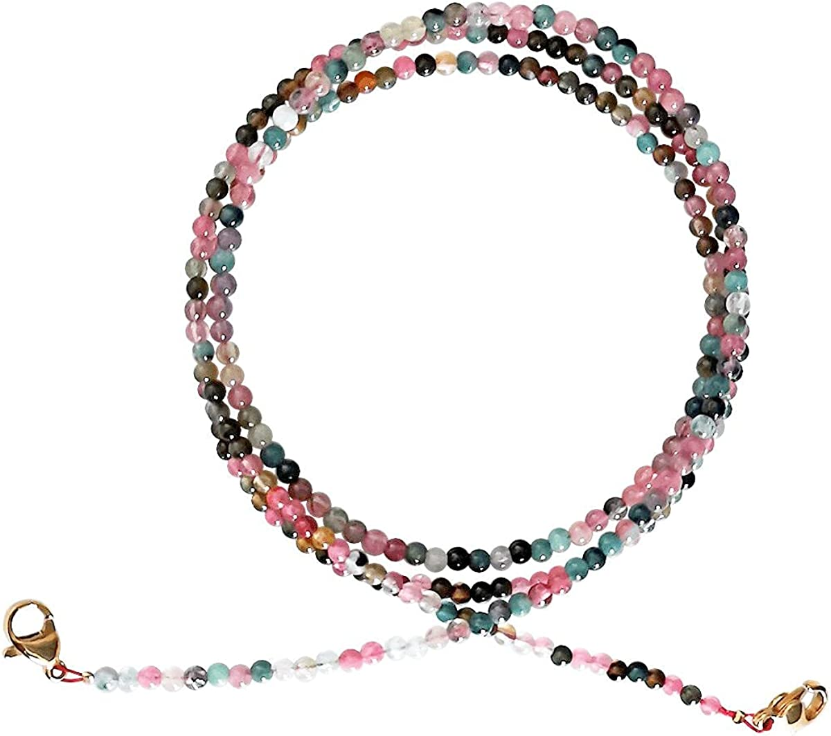 Qordelia Natural Multi Colors Tourmaline Gemstone 2mm Round Beads Glasses Chain Lanyard Necklace Strap Eyeglass Chains