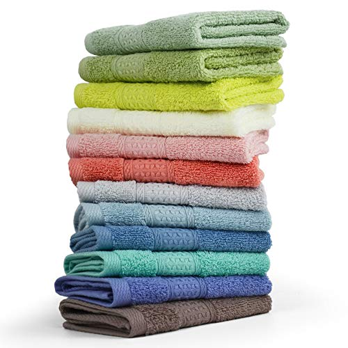 Cleanbear 100% Cotton Wash Cloths 12 Pack Bath Washcloths Facecloths, 13 by 13 Inches Large Bathroom Washcloth Set 12 Assorted Colors (Multi, 12)