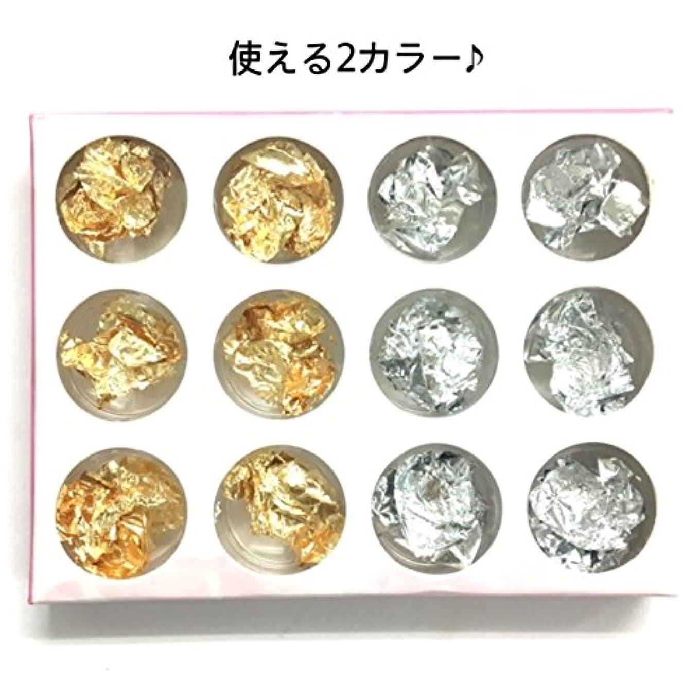 黄ばむ曇ったアンペア【ネイルウーマン】金箔 銀箔 (12個セット ケース入り) 大量 ネイルパーツ ジェルネイル用品