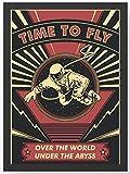 Retro Time to fly Astronaut Kunstdruck Poster -ungerahmt-