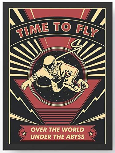 Retro Time to fly Astronaut Kunstdruck Poster -ungerahmt- Bild DIN A4 A3 K0103 Größe A4