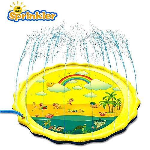 ELECTRAPICK Sprinkler Matte Kinder Wasserspielzeug Garten 175cm Wasserspielmatte für Kinder Baby (Gelb)