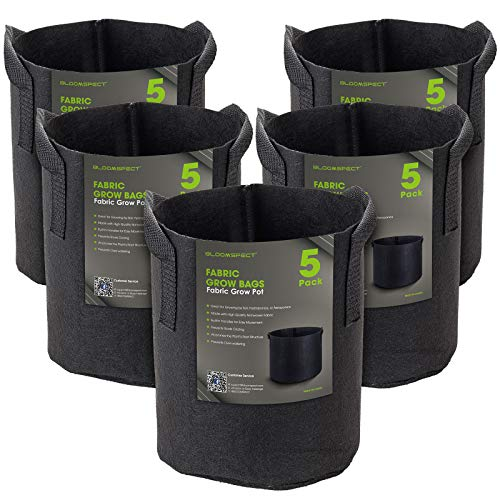 BLOOMSPECT 5-Pack 1 Gallon Grow Bags, Aeration Fabric Pots, Heavy Duty Thickened Nonwoven Plant Container with Handles