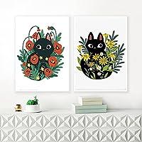 キャンバスウォールアート水彩黒猫の花は植物の絵のポスターとプリントを残しますリビングルームキッチン家の装飾80x100cm(32x40in)X2フレームレス