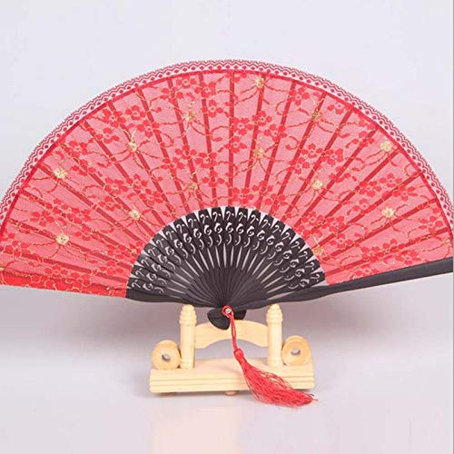XKMY Abanico de artesanía de moda España negro para mujer, abanicos de mano de encaje plegable al por mayor personalizado de bambú de decoración de boda (color: rojo, tamaño del abanico: 8 pulgadas)