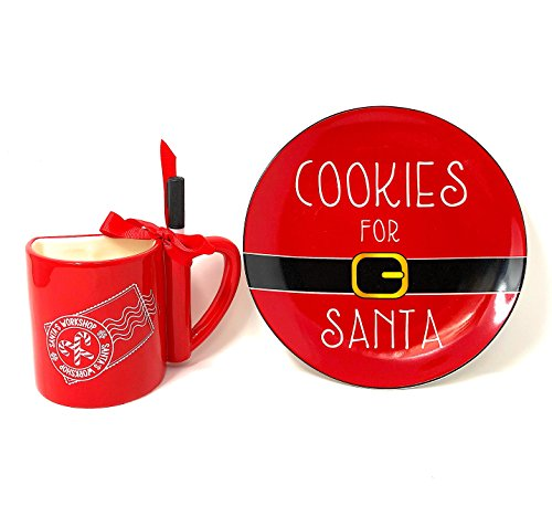 Set of Santa Cookie Plate and Christmas Dear Santa Message Write On 12 oz Cup with a Marker