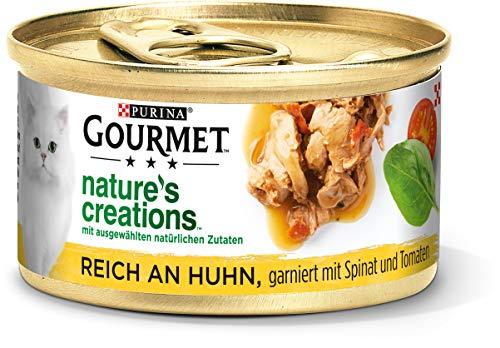 PURINA GOURMET Nature\'s Creation Katzennassfutter in Gelee naturbelassen, Huhn, 12er Pack (12 x 85g)