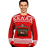 Morph Men's Digital Dudz Ugly Christmas Sweater, Crackling Fireplace, Small